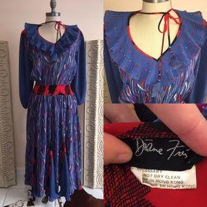 Diane Fris vintage dress with fringe tie details